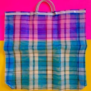 Vintage oversized checkered mesh beach tote bag